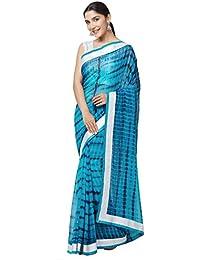 5f6ac32898fb6f MirchiFashion Frauen Faux Georgette Shibori Print Saree  (7837 Turquoise Freesize)