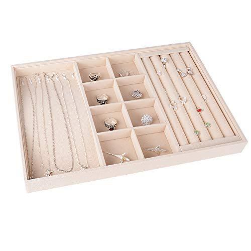 BUONDAC Bandeja para Joyas Joyero Organizador Joyerías Caja de Almacenamiento para Anillos Pendientes Collares Aretes (Beige)