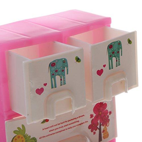 Sharplace Plastica Armadio Cassetto in Minature per Barbie Casa delle Bambole Decorazione Mobili, Bambola Accessori