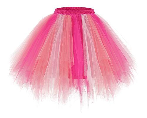 bridesmay Tutu Damenrock Tüllrock 50er Kurz Ballet Tanzkleid Unterkleid Cosplay Crinoline Petticoat für Rockabilly Kleid Coral-Pink-Rose L (Kostüm Für Petticoats Der 1950er Jahre)