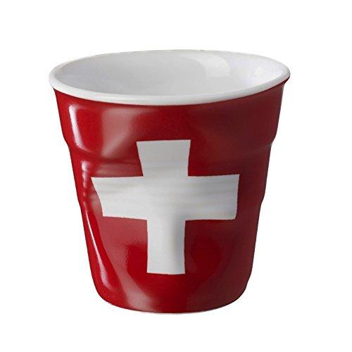 REVOL RV644314 Tasse espresso froissé Drapeau Suisse 6,5cm, porcelaine, blanc/rouge, 6.5 x 6.5 x 6 cm