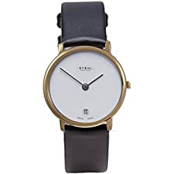Stahl SWISS MADE Wrist Watch Model: ST61475 - Stainless Steel - Extra Large 36mm Case - Plain White Dial
