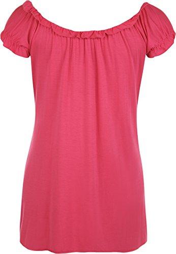 WearAll - Damen Übergröße Gypsy u-boot-ausschnitt boho Top - 18 Farben - Größe 40-58 Cerise