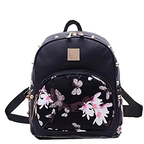 Donalworld Mädchen Blumen Schule-Beutel-Spielraum nette PU-Leder-Mini-Rucksack Black2
