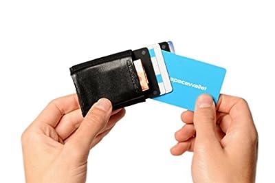 Petit portefeuille pratique, fin, léger, compact, 5,5 cm x 6,5 cm, cuir véritable - Space Wallet - tissu élastique - Qualité Premium - petit porte-monnaie, poche, petit sac