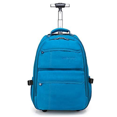 21-Zoll-Trolley-Rucksack Wasserdichter Rollrucksack auf Rädern für Männer und Frauen Business Laptop Travel Backpack Bag,Blue