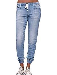 Cordón Cintura Alta Pantalón Vaquero Mujer Harem Pantalones Joggers Jeans 0eb4bc61e572