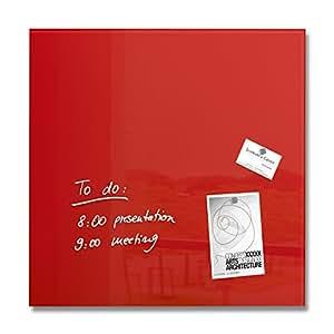Sigel GL114 Tableau magnétique en verre Artverum 48 x 48 cm - rouge