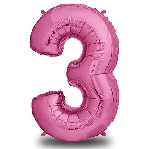 XXL Folien-Luftballon 3 Pink | Riesen Zahlen-Luftballon | 40