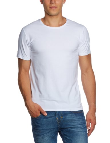 SELECTED HOMME Herren T-Shirt 16034242 Pima ss o-neck, Gr. 50 (M), Weiß (White)