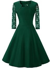 YiLianDa Vestiti Donna Eleganti Corti Abito da Cerimonia Manica Lunga  Camicia Vestito in Pizzo Vintage Abiti d8f92432c57