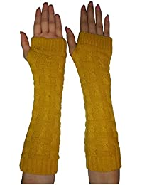 Womens Winter Long Ribbed Cable Knit Fingerless Gloves / Hand Warmers