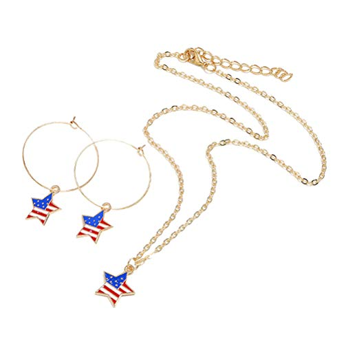Amosfun Amerikanische Flagge Sternform Halskette Ohrringe Set Unabhängigkeitstag patriotischen 4. Juli Schmuck Party Favors Geschenke (Patriotische Ohrringe)