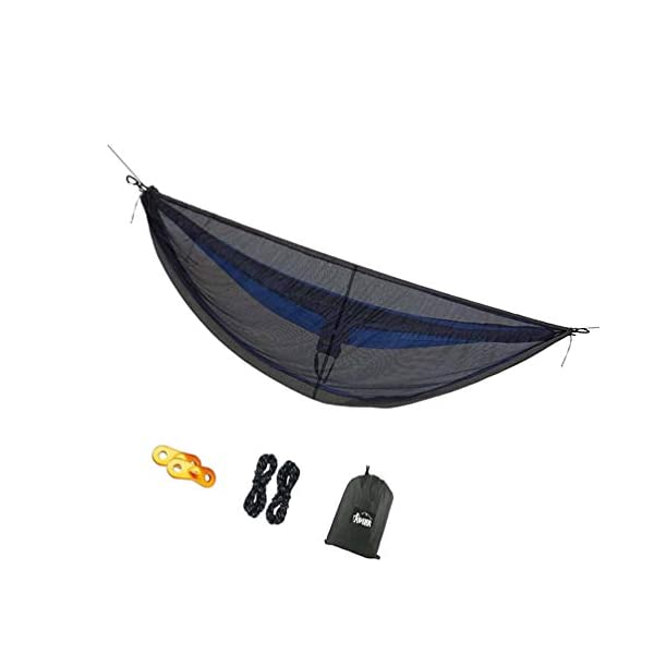 LIOOBO 1Set Camping Hammock with Mosquito Net Lightweight Adjustable Net Hammock Bug Hammock Mosquito Hammock for Backpacking Beach LIOOBO Great Gifts: adults, couples, travelers, couples with kids, beachers, campers - everyone says they enjoy it! A great gift for travel, camping, yard You can also quickly store the hammock and parts in the bag quickly. The camping hammock compacts to a backpack friendly, portable size for your convenience. Has built-in ultralight, waterproof compression stuff-sack, with a 2-sided buckle design that wonâ€t drag in the dirt while you hang. 2