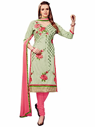 Nikki Fab Light Green Cotton Embroidered Unstitched Partywear Dress Material.