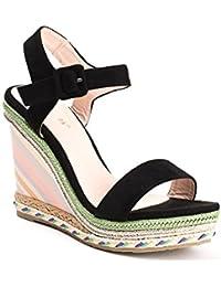 Ideal Shoes - Sandales compensées effet daim Milla