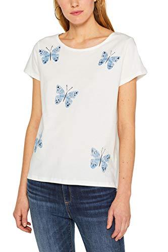 edc by ESPRIT Damen 049CC1K032 T-Shirt, Weiß (Off White 110), Medium (Herstellergröße: M) -