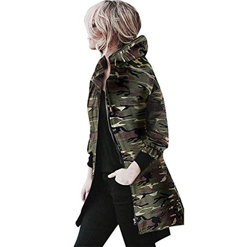 Camouflage Windbreaker Damen Btruely Kapuzen Langarm Jacke Parka Taschen Strickjacke Mantel (XL, Camouflage)