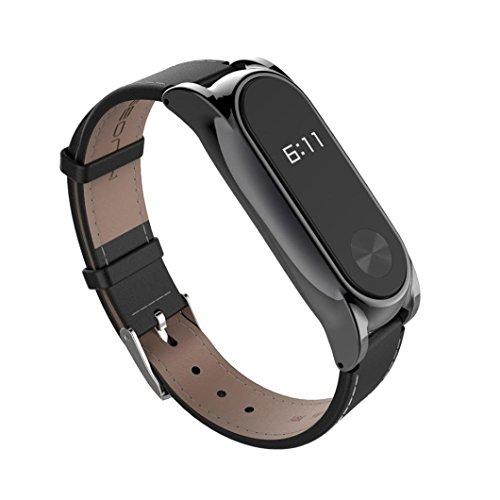 Xiaomi Mi Band 2 Correa de Recambio, Estuyoya Pulsera de actividad [Piel Sintética] Encaje Magnético [Cierre Hebilla] Reemplazo para Mi Band 2 - Color Negro