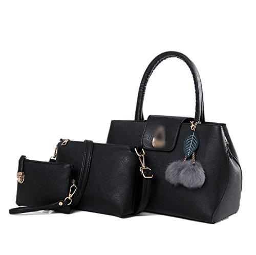 Donna Moda Nuova Borse A Tracolla Borse Pacchetto Xiekua Tre Pezzi Colore Solido Temperamento PU borsa Black
