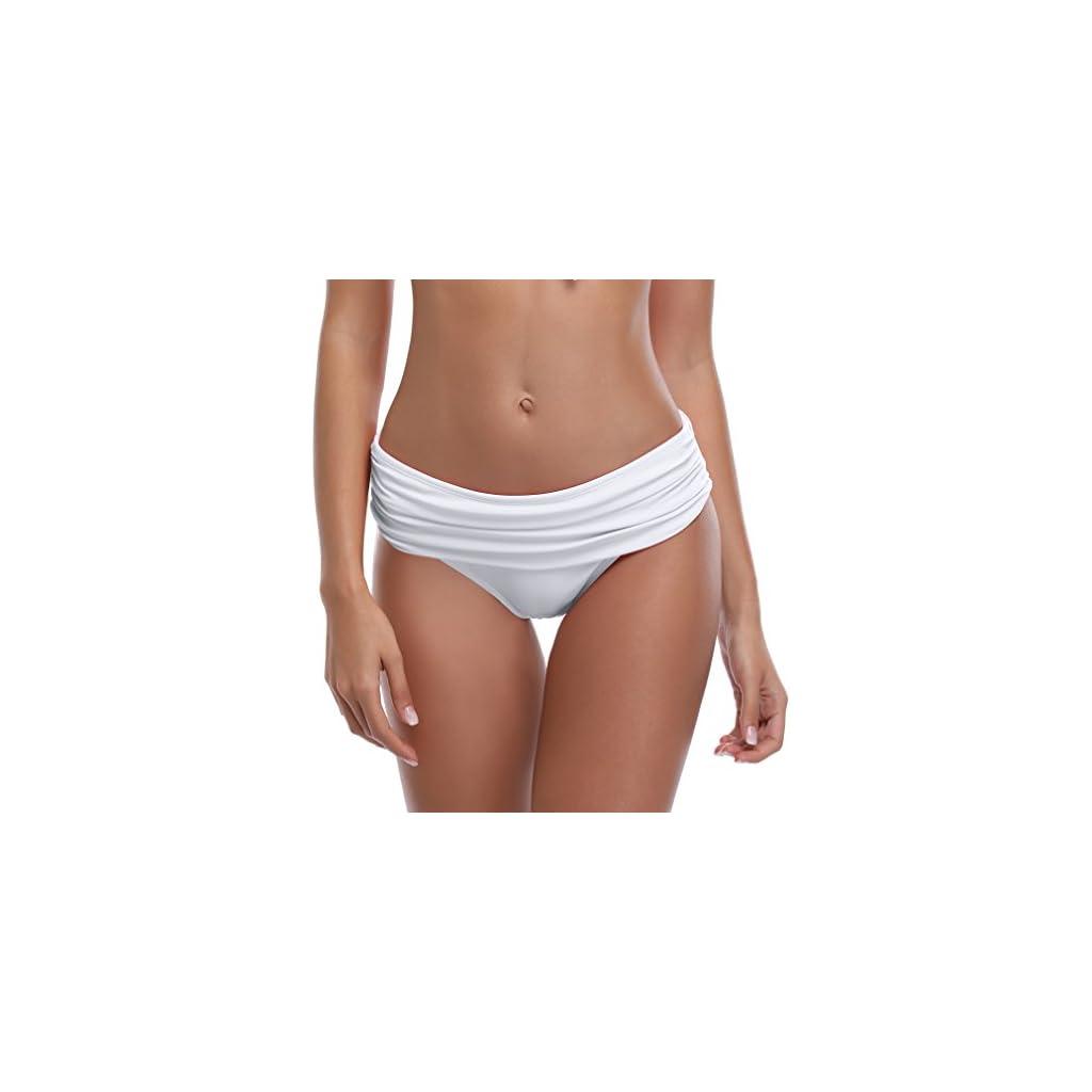 SHEKINI Bikini Slip per Donna A Vita Media Triangolo Classic Foldover Slip Bikini Ruched Pezzo sotto Bikini Bottom Pantaloni Nuoto Costumi da Bagno Culotte Slip Mare