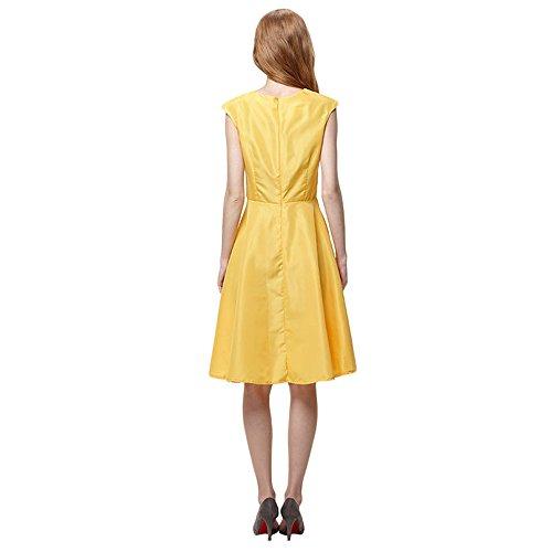 JOTHIN Damen Einfarbiges Kleid Ärmellose Rockabilly Kleid Frauen Swing Casual Sommerkleider Gelb