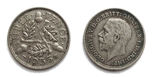 Münzen für Sammler - Circulated 1935 britischen Silber Threepence / 3d / Dreigroschen Bit Coin / Großbritannien