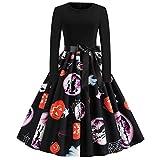Lazzboy Frauen Neue Halloween Kürbis Print Kleid Rundhals Reißverschluss Hepburn Partykleid Damen Retro Lace Vintage Eine Linie Schaukel(Schwarz-2,S)