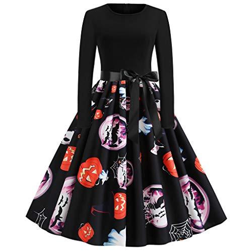 MCYs Kleider Damen Rockabilly Kleid Elegante Kleider Frauen Neue Halloween Kürbis Print Kleid Rundhals Reißverschluss Hepburn Partykleid(Schwarz,M) (Beste Neue Halloween Kostüme 2019)
