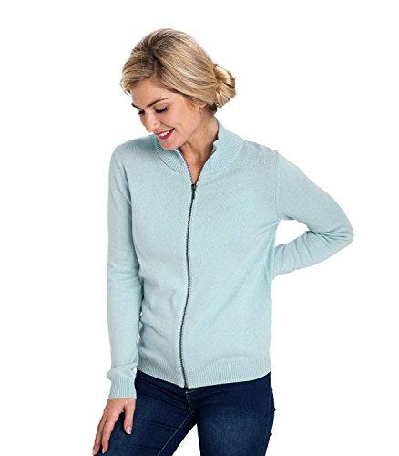 WoolOvers Cardigan à fermeture éclair - Femme - Cachemire & Coton Pale Blue