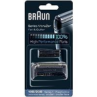 Braun 10B - Recambio para afeitadora eléctrica hombre Series 1/FreeControl/CruZer, pack con láminas de recambio y portacuchillas, color negro