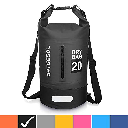 Arteesol Dry Bag Wasserdichte Tasche 5L/10L/20L/30L Wasserfester Beutel Packsack mit Langen Doppeltem Verstellbarer Schulterriemen für Schwimmen Bootfahren Kajak Wassensport Treiben (Schwarz, 10 L) -