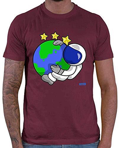 HARIZ  Herren T-Shirt Astronaut Erde Sterne Astronaut Rakete Inkl. Geschenk Karte Wein Rot L (Gute Erde Wissenschaftliche)