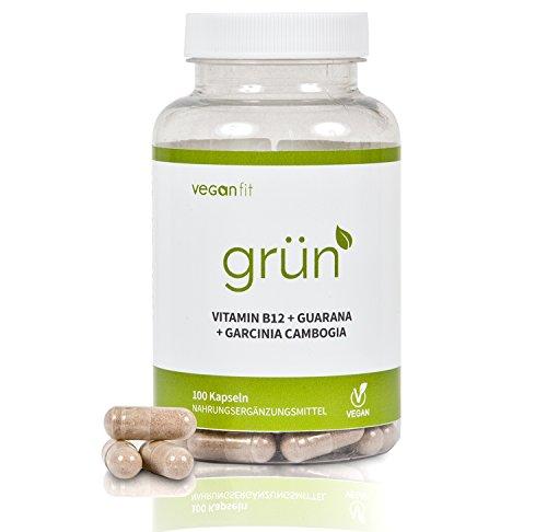 GRÜN - 100% natürlicher Premium Fatburner Komplex mit Superfoods. Guarana, Grüntee-Extrakt, Grüner Kaffee Extrakt, Vitamin B12, Garcinia Cambogia | vegan | hochdosiert | made in germany
