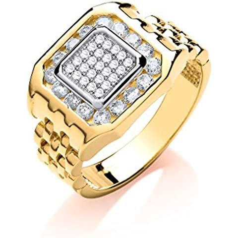 9ct oro giallo pantera Link e pietra trasparente da uomo anello