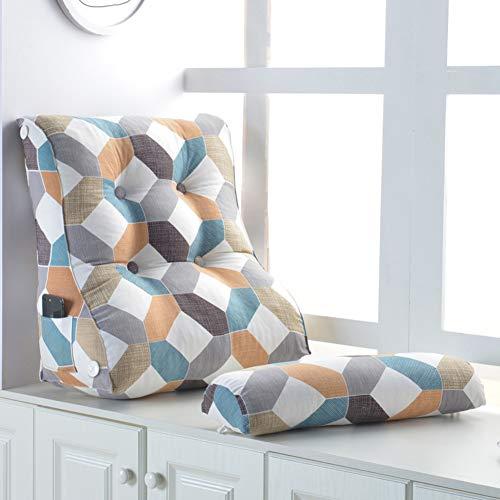 HSMM Dreieckiger Keil Kissen,lesen Kopfkissen,Sofa Bett Rückenlehne,gemütlich Atmungsaktive Abnehmbare Balkontür Schlafzimmer-k 45x55x30cm(18x22x12inch) -