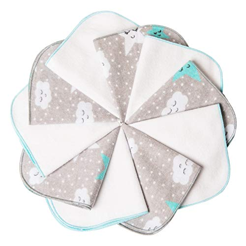 mimaDu Molton Flanell Baby Waschlappen aus 100% OEKO-TEX Baumwolle 10er Set - 25x25 cm - Flanelltücher Kinderservietten - weich und flauschig- weiss grau türkis.