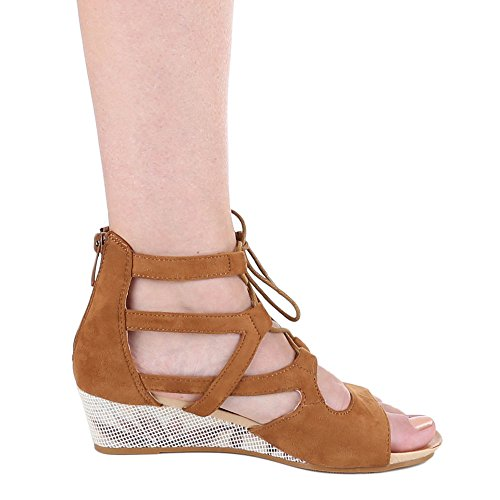 Ital-Design Keilsandaletten Damen Schuhe Römersandalen Keilabsatz/ Wedge Keilabsatz Reißverschluss Sandalen / Sandaletten Camel