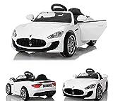 ToyZone Kinderfahrzeug 12V Elektroautos Kinder Elektro Maserati Gran Turismo MP3 USB Eva Gummiräder Ledersitz 2,4 GHZ weiß