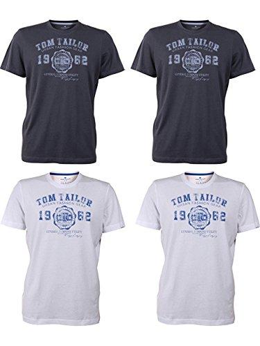 TOM TAILOR Herren Rundhals T-Shirt Logo Tee Basic - 4er Pack 2x White (2000) 2x Tarmac Grey (2983)