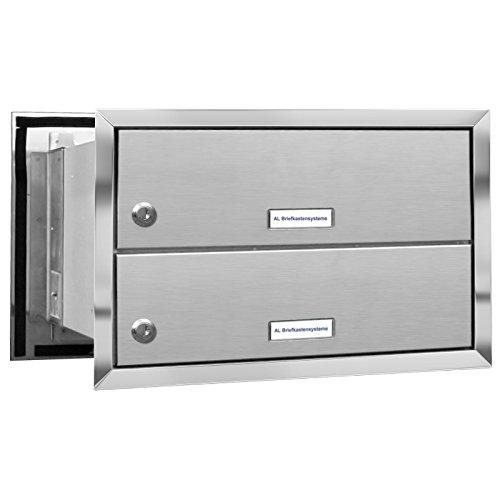 AL Briefkastensysteme 2er Briefkasten Mauerdurchwurf in V2A Edelstahl, 2 Fach DIN A4, wetterfeste Premium Briefkastenanlage Postkasten - 2