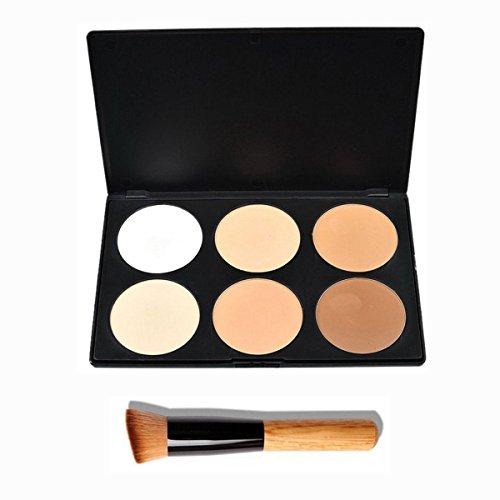 PIXNOR 6 couleurs de maquillage Correcteur Contour Palette + pinceau de maquillage