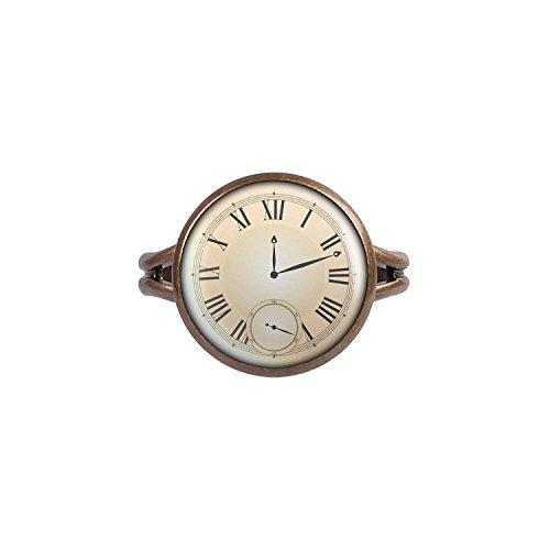 Mylery-Ring-mit-Motiv-Taschen-Uhr-Ziffernblatt-Fake-Unecht-bronze-verschiedene-Gren