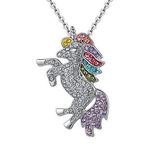 NIMUIL Damen 925 Sterling Silber Halskette Mädchen Glücklich Einhorn Kettenanhänger Silberkette Für Schön Geschenkbox Verpackung