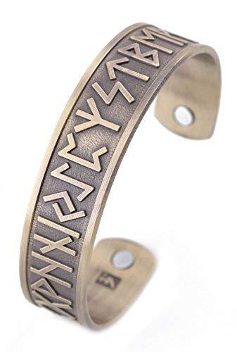 VASSAGO Pulsera de terapia magnética para hombre, diseño de correas de vikingo, estilo vintage