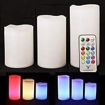 Frostfire Mooncandles - Set de 3 velas impermeables que cambian de color para uso en exterior e interior con mando a distancia y