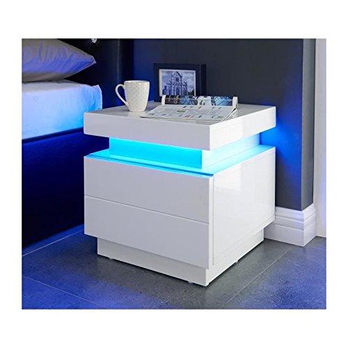 Générique Flash Chevet Contemporain Blanc Brillant - L 40 cm