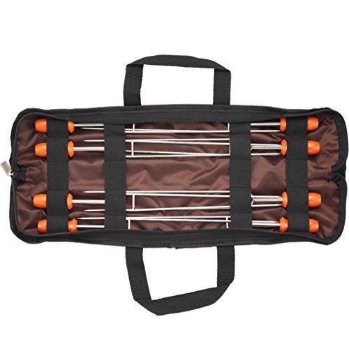 RoseFlower® 16''/42cm Doppelspieße Grill Spieße Set aus Edelstahl (8 Stück) Mit Tragetasche Grillspieße Schaschlikspieße Fleischspieße für Hot Dogs, Kebab, Wurst - Ideal BBQ Grillzubehör Kit für Dad (Wurst-kit)