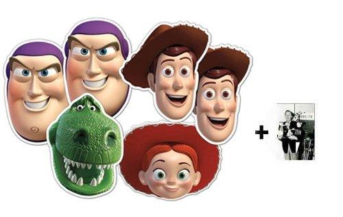 Toy Story Karte Partei Gesichtsmasken (Maske) Packung von 6 (Woody x 2, Buzz Lightyear x 2, Jessie und Rex) - Enthält 6X4 (15X10Cm) starfoto