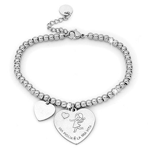 Beloved ❤️ bracciale da donna, braccialetto in acciaio emozionale - frasi, pensieri, parole con charms - ciondolo pendente - misura regolabile - incisione - argento - tema famiglia (mf4)